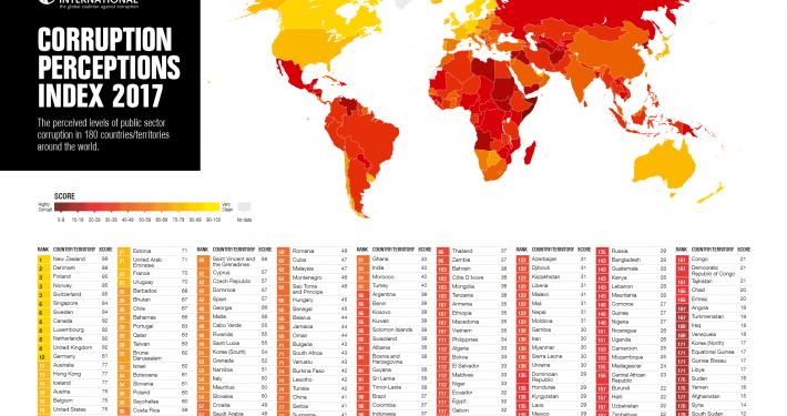 מפת מדד השחיתות העולמי עדכנית לשנת 2017